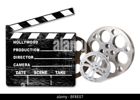 Hollywood FIlm Canisters Isolated on White With Directors Clapboard - Stock Photo