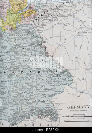 old map of bavaria from original geography textbook 1884 stock