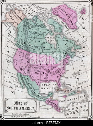 Original Old Map Of North America From Geography Textbook - Map of northern us and canada
