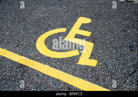 Disabled parking place sign. London. UK 2009. - Stock Photo