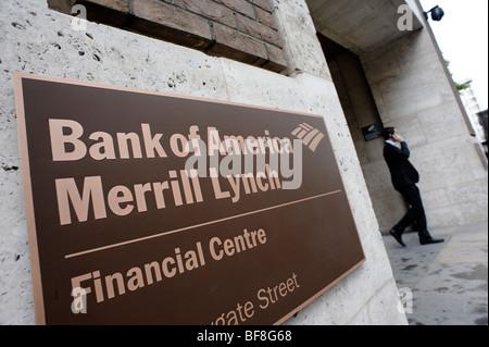New Bank of America Merrill Lynch sign on King Edward Street. City of London. UK 2009. - Stock Photo