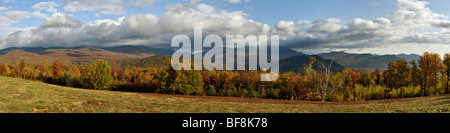 Panorama of Mount Washington and other Mountains in the White Mountains National Forest in New Hampshire - Stock Photo