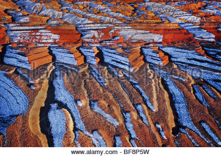 Sandstone and snow (aerial), Comb Ridge, Utah - Stock Photo