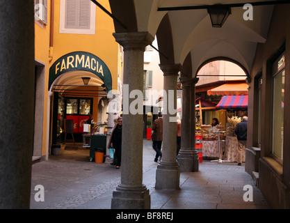 Arcade in Lugano Old Town, Ticino - Stock Photo