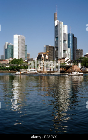 Aug 5, 2009 - View of Frankfurt skyline and Eiserner Steg crossing the river Main. - Stock Photo