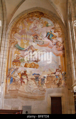 Wall painting in St Barbara's Cathedral, Kutna Hora, Czech Republic - Stock Photo