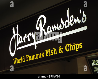 Harry Ramsden's Fish & Chips sign - Stock Photo