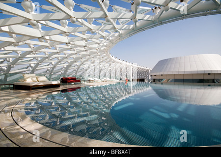Yas marina hotel swimming pool on roof top stock photo - Volume of a swimming pool formula ...