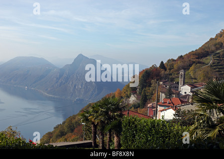 Monte San Salvatore and Lake Lugano seen from Monte Bre - Stock Photo