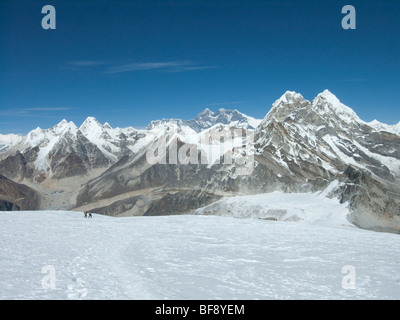 Mount Everest or Qomolangma or Sagarmatha Chomolungma. Highest mountain on Earth. Nepal. - Stock Photo