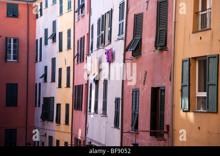 Colourful painted buildings in Genoa, Italy - Stock Photo