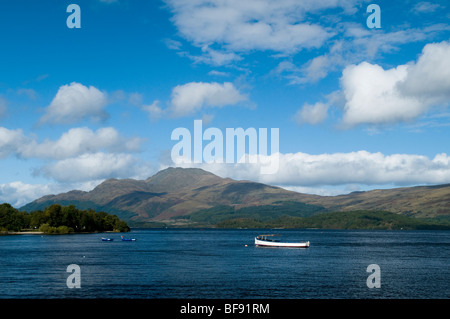 View of Ben Lomond from Luss on the banks of Loch Lomond in Scotland - Stock Photo