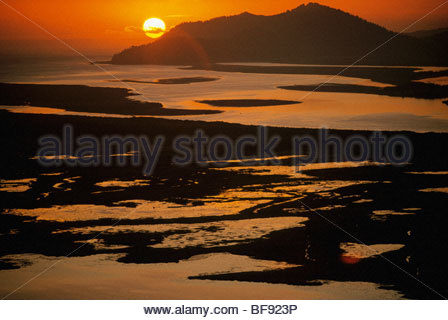 Copper River Delta at sunset (aerial), Alaska - Stock Photo