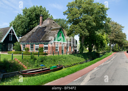 Farm House Beemster Holland Netherlands dutch boat - Stock Photo