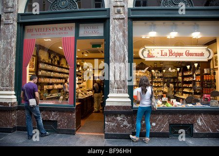 The Belgique Gourmande Shop, Galerie de la Reine, Queens Shopping Gallery, Brussels; Belgium; Europe - Stock Photo