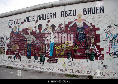 The Berlin Wall, at the East Side Gallery, a 1.3km-long section of the wall near the centre of Berlin