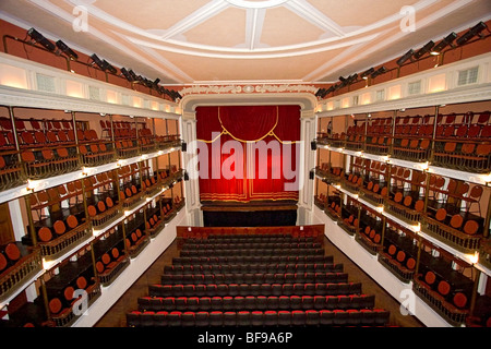 Interior of famous Angela Peralta opera house just off the Plazuela Machado in Mazatlan's historic old district. - Stock Photo