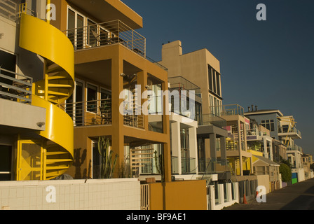 Bike path along Santa Monica waterfront; Santa Monica, Los Angeles Southern California - Stock Photo