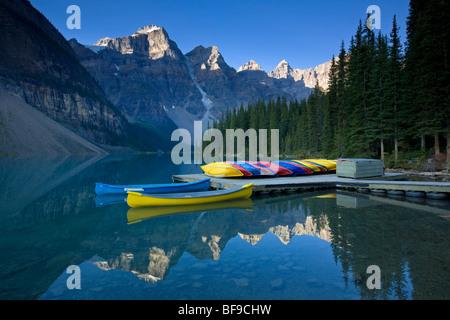 Canoes docked at Moraine Lake, Banff National Park
