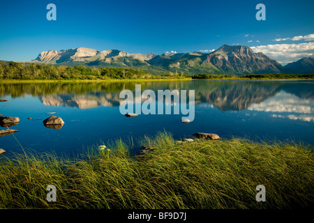 Sofa mountain and Vimy Ridge viewed from lower Waterton Lake, Waterton Lakes National Park, Alberta, Canada - Stock Photo