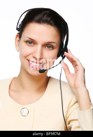 Smiling young woman - operator.Customer support. - Stock Photo