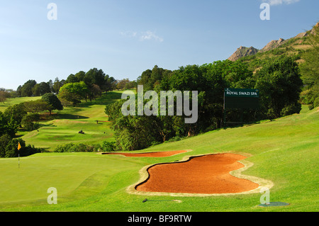 Golf bunker next to the putting green on the 18-hole golf course of the Royal Swazi Spa Hotel Resort, Ezulwini, - Stock Photo