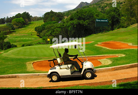 Electric golf cart on the 18-hole golf course of the Royal Swazi Spa Hotel Resort, Ezulwini, Swaziland - Stock Photo