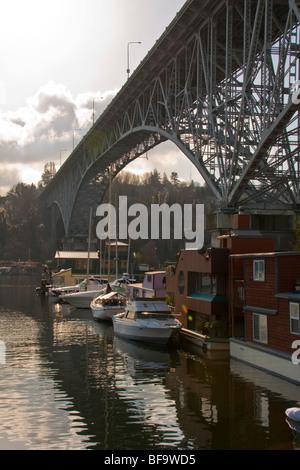 Aurora Bridge and Lake Washington Ship Canal at the west end of Lake Union, Fremont, Seattle, Washington - Stock Photo