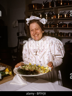 UK, England, Staffordshire, Stafford, Shugborough House kitchen, Jean Alden displaying Victorian cookery - Stock Photo