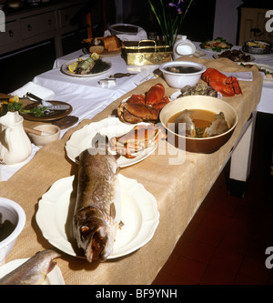 UK, England, Staffordshire, Stafford, Shugborough House Victorian kitchen, fish being prepared for dinner - Stock Photo