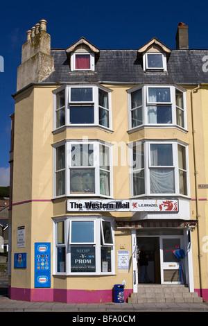 Local Newsagents Shop Marine Terrace Aberystwyth Ceredigion Wales - Stock Photo