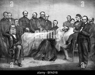 Print circa 1865 showing US President Abraham Lincoln on his deathbed surrounded by members of his Cabinet, Generals and family.