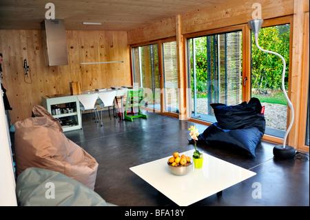 Paris, France, Green House, Zero Energy Consumption, 'Passive House' 'Maison Passive' Buildings, house saving energy - Stock Photo