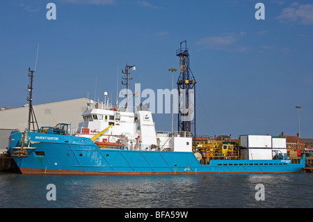 North Sea gas field supply ship 'Investigator', Great Yarmouth, Norfolk, UK. - Stock Photo