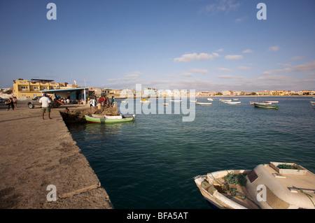On the harbour of Sal Rei, capitale of Boa Vista, Cape-Verde - Stock Photo