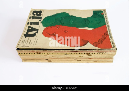 Stack of old editions Ty i Ja, 'You and Me' Illustrated Polish Magazines from 60s, 70s, front cover by W. Świerzy - Stock Photo