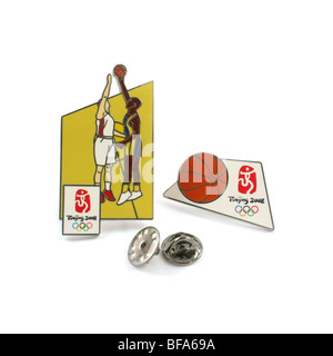 2008 Beijing Olympic Games souvenir pins for basketball. - Stock Photo