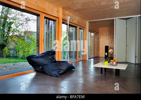 Paris, France, Green House, Zero Energy Consumption, Passive House 'Maison Passive',eco house  inside, Living Room - Stock Photo