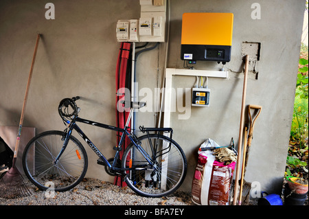 Paris, France, Green House, Solar Power, Passive House, 'Maison Passive',eco house outside, Suburb Bicycle - Stock Photo