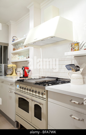 Modern design kitchen with white and wood elements - Stock Photo