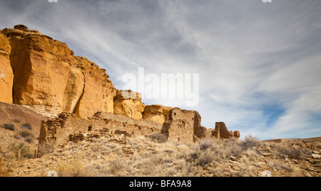 The Chacoan Ruins in Chaco Canyon near Farmington in New Mexico USA - Stock Photo