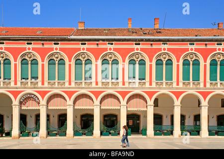 Square of the Republic in Split, Central Dalmatia, Croatia - Stock Photo