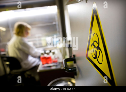 Laboratory assistant in a labour for Clinical diagnostics of influenza viruses at Robert Koch-Institute . Berlin - Stock Photo