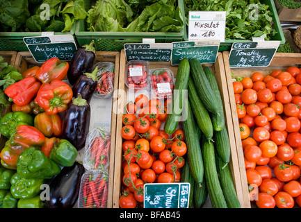 Vegetables on a farmer's market . Berlin , Germany - Stock Photo