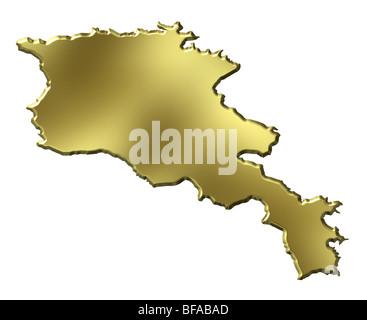 Armenia 3d golden map - Stock Photo