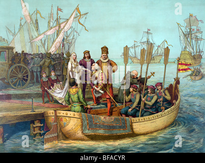 Print c1893 entitled 'The First Voyage' - Christopher Columbus bids farewell to Queen Isabella as he departs for - Stock Photo