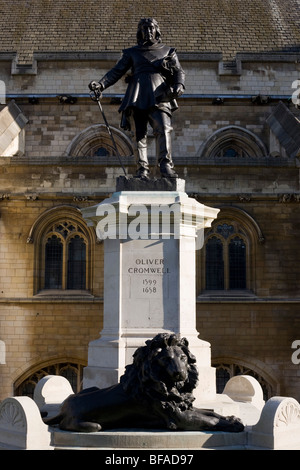 Bronze statue to Lord Protector, Oliver Cromwell, outside the British Parliament's Westminster Hall in London. - Stock Photo