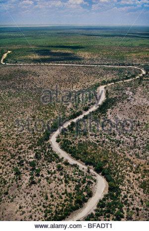 Dry river bed (aerial), Makgadikgadi Pans, Botswana - Stock Photo