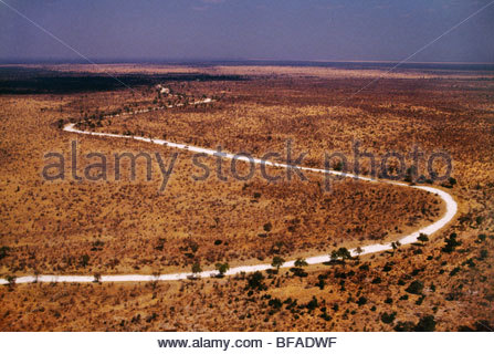 Sand river (aerial), Makgadikgadi Pans, Botswana - Stock Photo