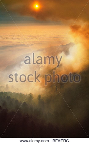 Forest fire obscuring sun (aerial), Big Sur, California - Stock Photo